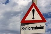retirement home warning sign, symbol of caution, thoughtfulness, accident risk