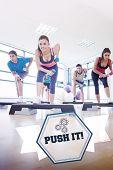 stock photo of step aerobics  - The word push it - JPG