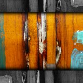 rusty blue, yellow metal background texture iron