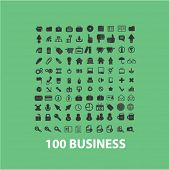 100 business, marketing, management, shopping, store, sales isolated flat icons, signs, symbols illustrations, images, silhouettes on background, vector