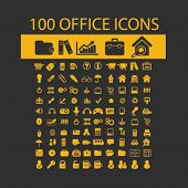 100 office, document, workspace, workplace, administration isolated flat icons, signs, symbols illustrations, images, silhouettes on background, vector