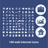 100 web internet isolated flat icons, signs, symbols illustrations, images, silhouettes on background, vector