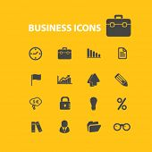 business, case, investment isolated flat icons, signs, symbols, illustrations, images, silhouettes on background, vector