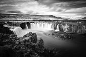 Long exposure image of Godafoss waterfall in Iceland