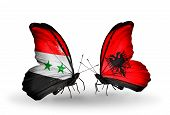 Two Butterflies With Flags On Wings As Symbol Of Relations Syria And Albania