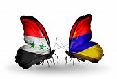 Two Butterflies With Flags On Wings As Symbol Of Relations Syria And Armenia