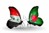 Two Butterflies With Flags On Wings As Symbol Of Relations Syria And Bangladesh