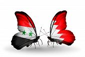 picture of bahrain  - Two butterflies with flags on wings as symbol of relations Syria and Bahrain - JPG
