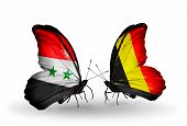 Two Butterflies With Flags On Wings As Symbol Of Relations Syria And  Belgium