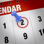 Calendar And Pushpin