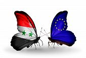Two Butterflies With Flags On Wings As Symbol Of Relations Syria And European Union