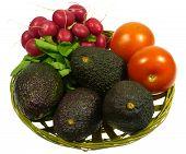 Avocado radish and tomato