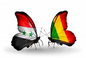 Two Butterflies With Flags On Wings As Symbol Of Relations Syria And Mali