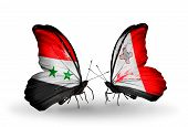 Two Butterflies With Flags On Wings As Symbol Of Relations Syria And Malta