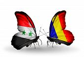 foto of chad  - Two butterflies with flags on wings as symbol of relations Syria and Chad Romania - JPG