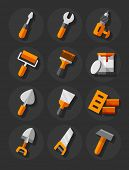 Working tools for construction and repair flat icons set. Eps10 vector illustration