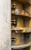 stock photo of formwork  - Rusty metal formwork used for building the concrete constructions - JPG