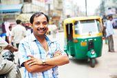 stock photo of rickshaw  - Indian auto rickshaw three - JPG