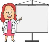 Illustration of a Doctor in a Lab Coat Giving a Presentation