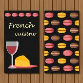 Template for menu, card or booklet with cartoon french food objects