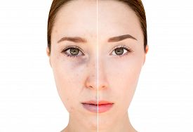 pic of wrinkled face  - Woman - JPG
