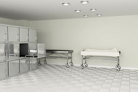 image of autopsy  - 3d rendering of a macabre autopsy room - JPG