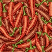 Seamless chili pepper background