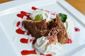 picture of ice-cake  - ice cream with sweet sauce and cake - JPG
