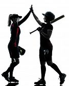 picture of softball  - women playing softball players in silhouette isolated on white background - JPG