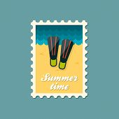 picture of flipper  - Flippers flat stamp vector illustration eps 10 - JPG