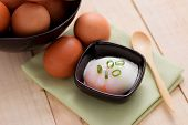 picture of boil  - boiled eggs for breakfast on wooden table - JPG