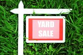 foto of yard sale  - Wooden Yard Sale sign over green grass background - JPG