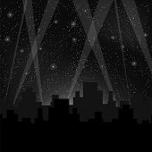 picture of starry  - Houses Silhouettes on Night Starry Sky - JPG