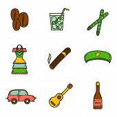 Set of cute hand drawn colorful icons on Cuba theme poster