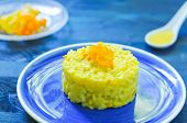 image of saffron  - Risotto with pumpkin flowers with saffron cream - JPG