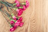 picture of carnation  - Pink carnations flower bouquet on rustic wooden background  - JPG