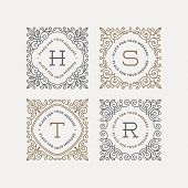 image of boutique  - Set of monogram logo template with flourishes calligraphic elegant ornament frames - JPG