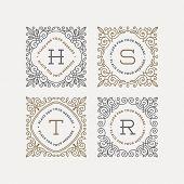 pic of monogram  - Set of monogram logo template with flourishes calligraphic elegant ornament frames - JPG