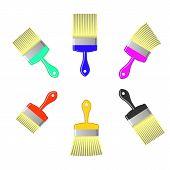 foto of bristle brush  - Set of Colorful Paint Brushes Isolated on White Background - JPG