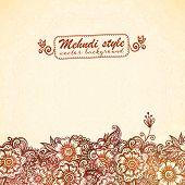 stock photo of mehndi  - Vector vintage background in Indian henna mehndi style - JPG