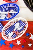 pic of barbie  - Table set with white blue and red decorations for July 4th barbecue - JPG
