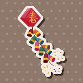 "stock photo of chinese crackers  - "" Wish Spring Comes"" Chinese Firecrackers Theme Elements, illustration vector eps ,color cartoon icon. - JPG"