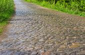 image of cobblestone  - An ancient cobblestone road in country area central Ukraine - JPG