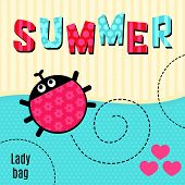 stock photo of ladybug  - Card creeping red ladybug that says summer vector illustration T - JPG
