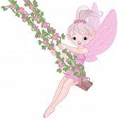 stock photo of fairies  - Illustration of Pixy fairy on a swing - JPG