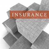 Insurance Blocks Shows Financial Policy And Indemnity 3D Rendering poster