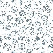 Vector Seamless Pattern With Outline Pets Icons. Goods For Animals. poster