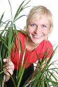Blond Woman With Plant