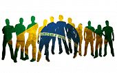 foto of person silhouette  - brazil flag style of people silhouettes - JPG