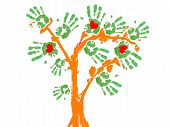 picture of afforestation  - an abstract tree with the leafs in the form of palmprints and some red hearts inside them - JPG